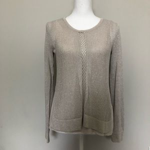 Lucky Brand Top High Low Layered Sparkle Silver